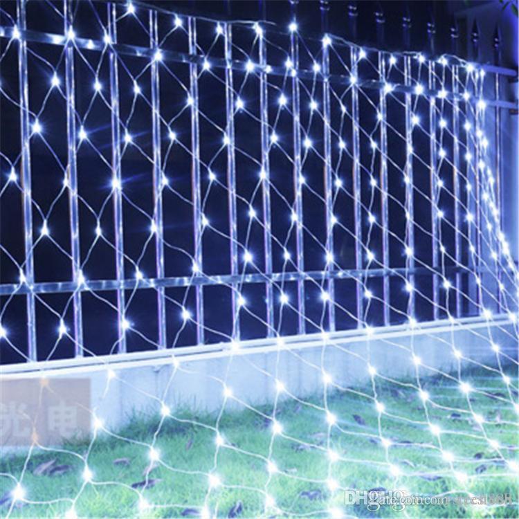 أدى ضوء سلسلة صافي المنزل والحديقة التلفزيون جدار Backgroun تزيين 1.5x1.5M 2x2M 3x2M 6x4M 8M * 10mFairy النجوم حفل زفاف جارلاند مصباح