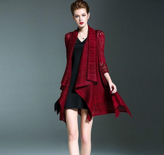 aBHbc Sanzhai automne nouveau manteau de mode creux cardigan mince cape châle à mi-longueur dentelle manteau de dentelle Cape pour les femmes