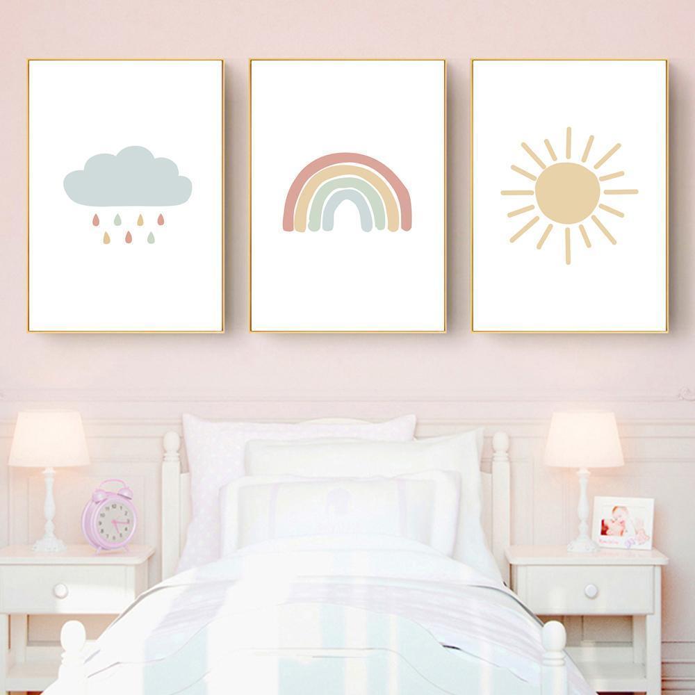 Poster Nursery Impressão da parede do bebê que pintam a arte Neutral Poster Sun do arco-íris Nordic Art Canvas Sunrise Quarto decorativa Nuvem Imagem bde_luck VLP