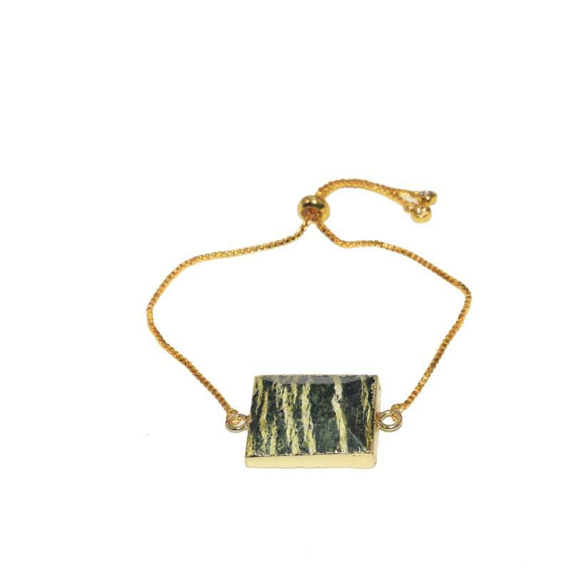 Natural Marble Zebra Stone Connector Love men bracelet 2020 gold bezel gem stone rectangle pendant chain bracelet for men