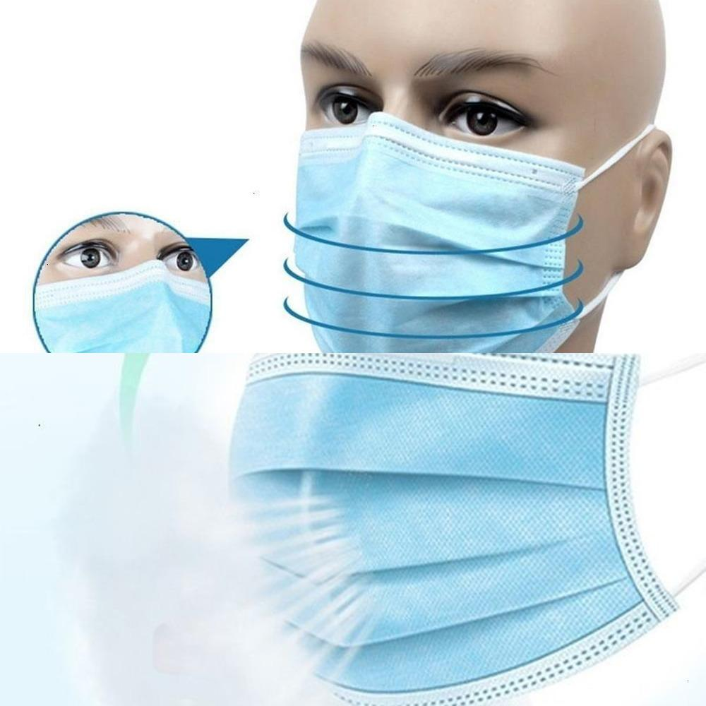 10/50/100 / 200pcs Máscara 3 Camadas Dustproof máscaras descartáveis rosto por 50pcs adultos / caixa LCNQT SBG7 IL4P