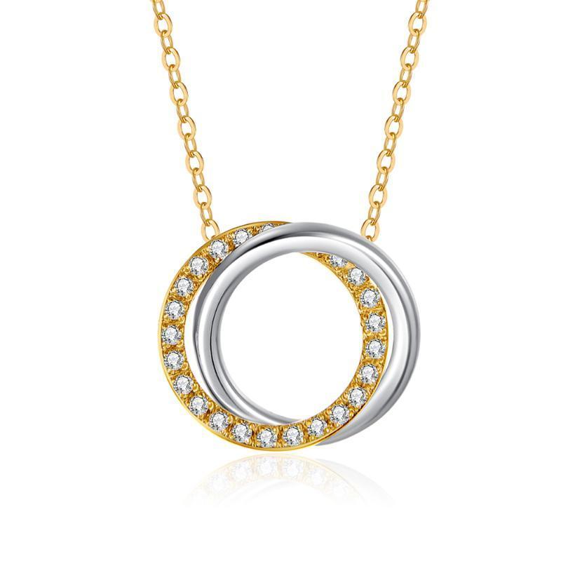 WAWFROK Edelstahl-Frauen-Halskette 3 Farben Halskette für Frauen Zirkonia Charm Schmuck Geschenk