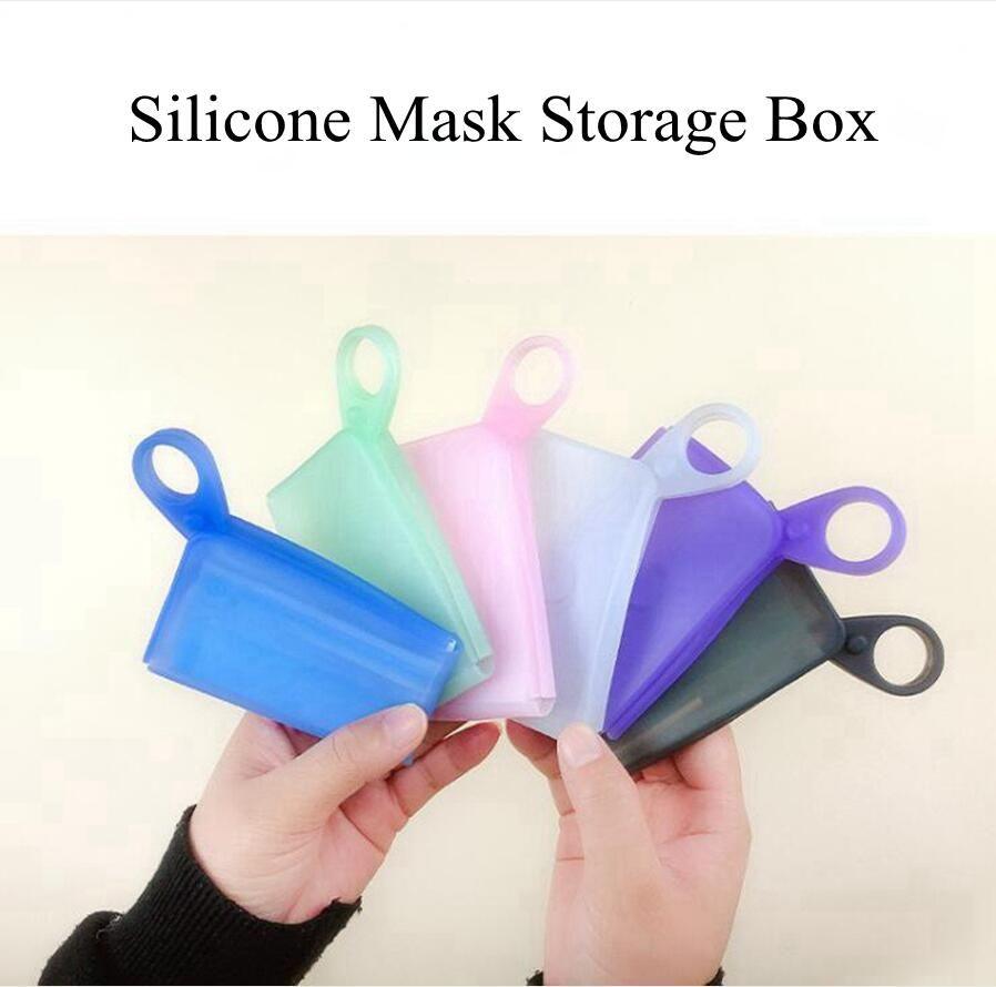 Máscara de silicona Caja de almacenamiento temporal del almacenaje del clip de la máscara impermeable doblado portátil de viaje de los hogares de contenedores organización creativa DDA566
