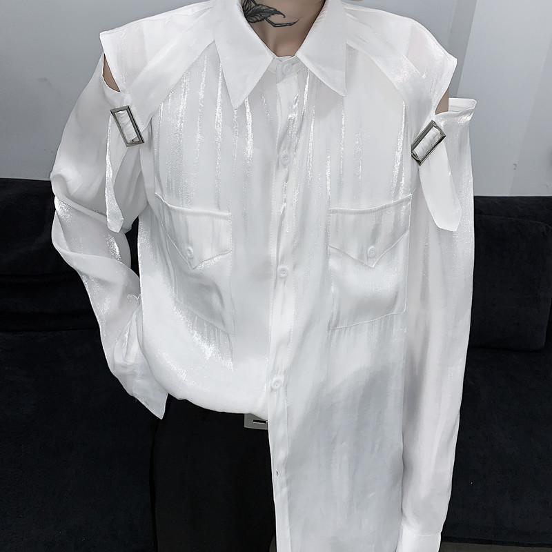 / Usure Niche creux chemise paillettes mercerisé chemise polarisée sans bretelles hommes lâches haut de la rue 2020 printemps nouveaux sommets 9Y1470