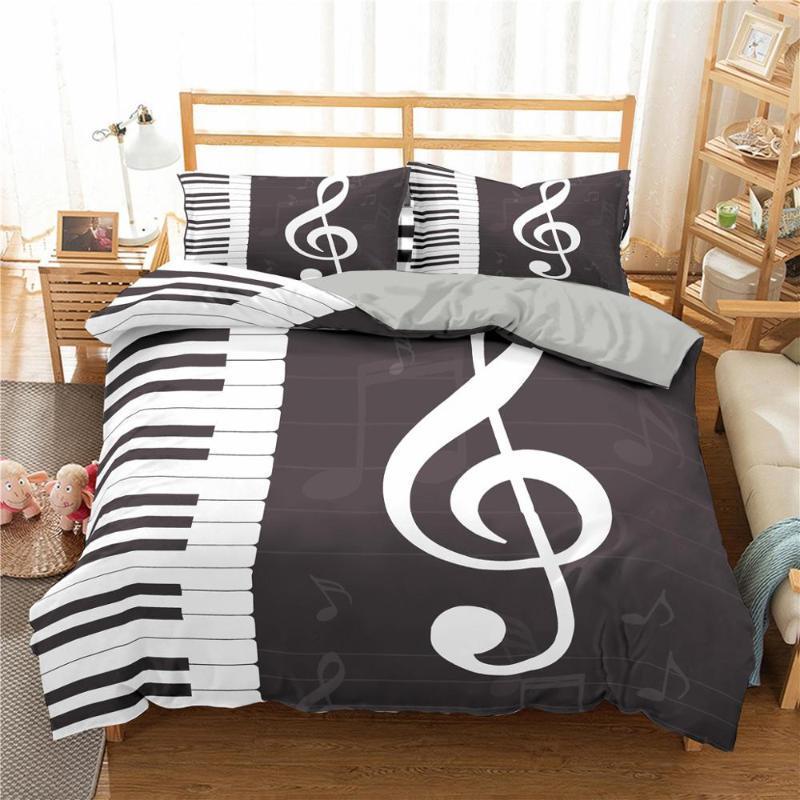 Boniu 3D Music Note Printed Bedding Set 2/3pcs Duvet Quilt Cover Pillowcase Queen King Size For Home Bedroom Decor