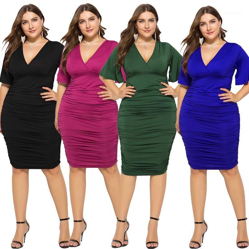 Down-Bleistift-Kleider Damen mit Rüschen besetzte Sommer-Kleidung der Frauen plus Größen-Kleid mit V-Ausschnitt Flare Hülse Taille