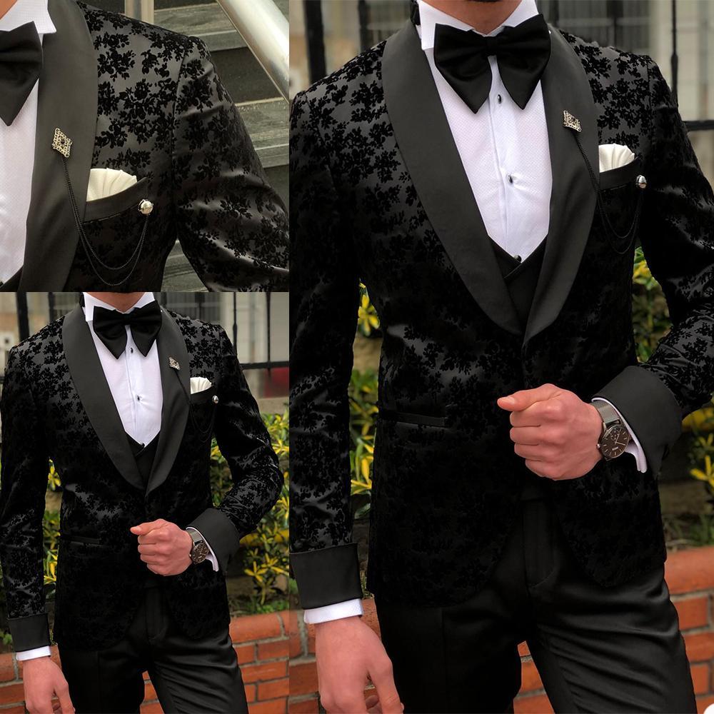 3 Pcs Black Mens Suits Wedding Tuxedos Custom Made Lace Groom Groomsmen Suit Mens' Business Formal Wear