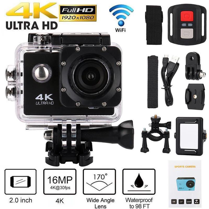 """H9 Action Camera Ultra HD 4K / 30FPS WIFI 2.0 """"170D Unterwasserwasserdichte Kamera Helm Vedio Sport Go Pro Camera"""