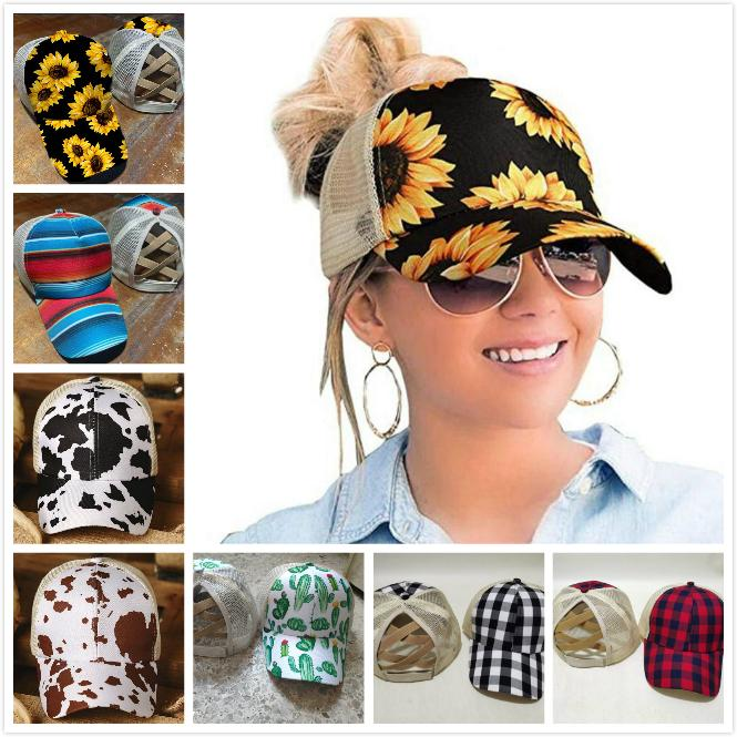 18 색 포니 테일 야구 모자 여성을위한 지저분한 롤빵 모자 씻은 코튼 스냅 백 모자 캐주얼 여름 야외 썬 바이저 모자