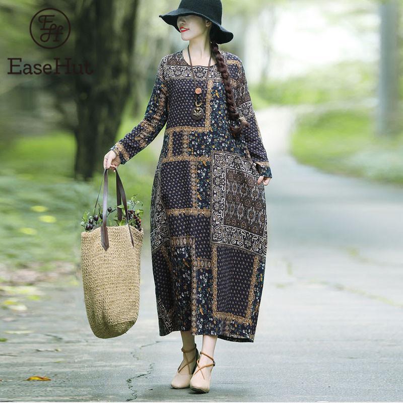 EaseHut Impresso Vintage Algodão Linho Dress For Loose Women Casual Maxi Vestidos manga comprida em torno do pescoço Moda Retro Elbise mujer LJ200909
