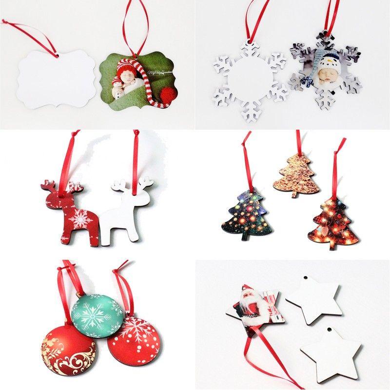 Transferência Hot Natal Impressão Coaster branco redonda do floco de neve da árvore de Natal projeto dos cervos MDF branco Ornamento de suspensão FWE1778