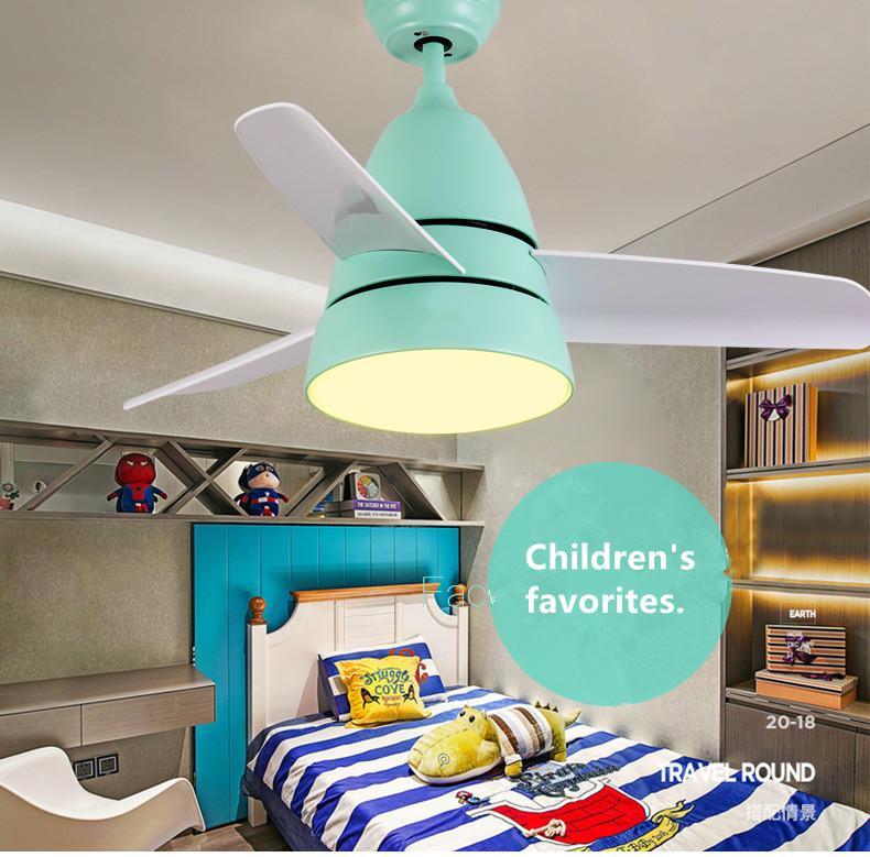 2021 Nordic Bedroomc Kinderdeckenventilator Led Fern Ventilador De Techo für Kinder Quiet frei versendenden Motor Entwickelt