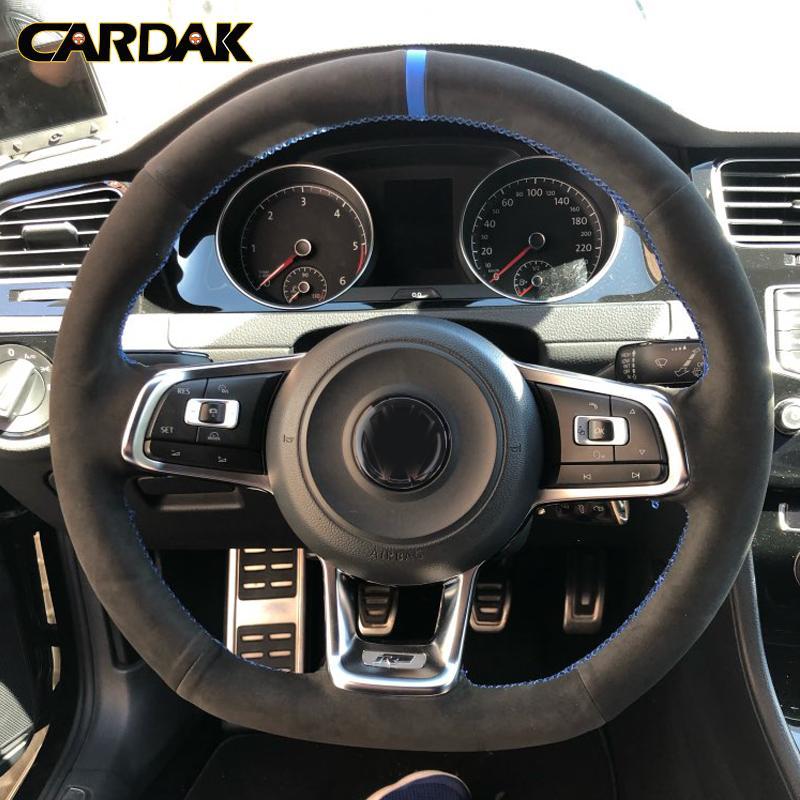 탄소 섬유 블랙 스웨이드 자동차 스티어링 휠 커버 폭스 바겐 골프 7 GTI 골프 R MK7 폴로의 Scirocco 2015 2016 자동차 액세서리