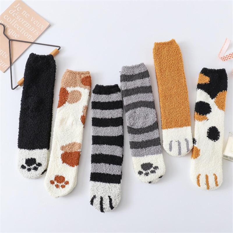 Plush coral wool socks female tube socks Thicken Autumn and Winter cat claws cute funny warm sleep floor sleeping socks