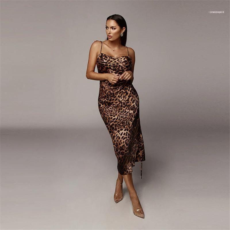 Con cordones de Midi Vestidos Moda Mujer Ropa para mujer Diseñador leopardo imprimió los vestidos sin mangas atractiva sin respaldo vestidos casuales