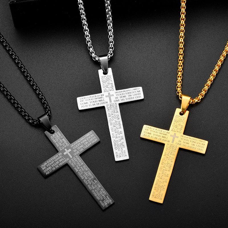 Scritture in acciaio inox Collana a croce Collana con pendente con pendenti in oro Le donne Mens Fashion Jewelry gioielli e regalo sabbioso