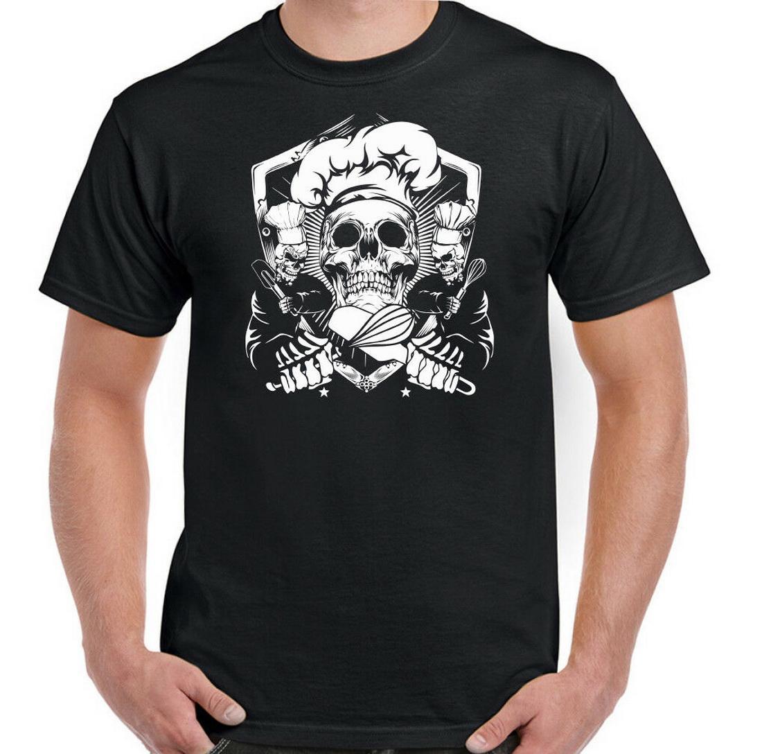 Baker Chef Skull-Männer Spitzen T Shirt BBQ-Koch Kochen Backen Essen Hut Kitchen Party Top T-Shirt Street Beiläufiges