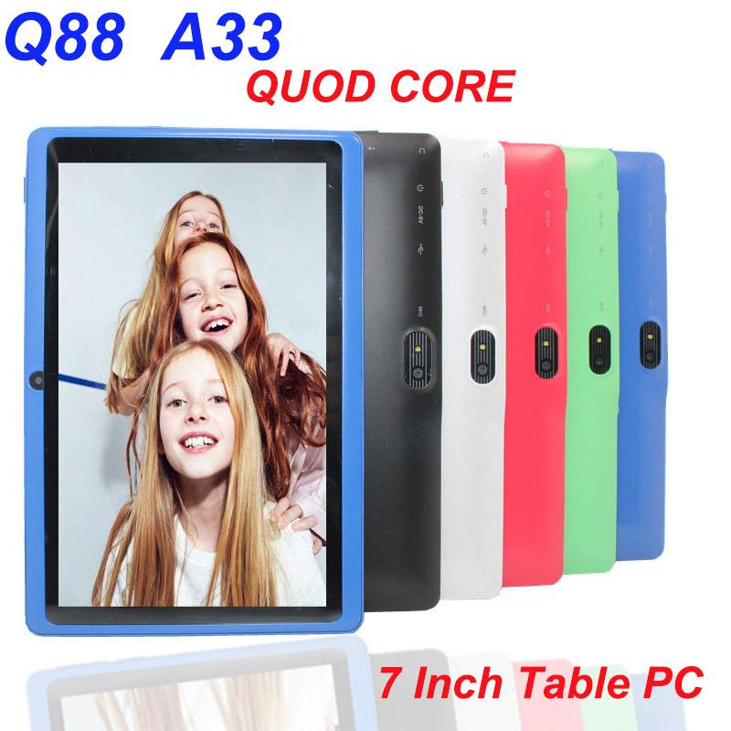 """Newest Tablet PC 512MB RAM 4GB ROM Q88 A33 Quad Core Dual Cameras 7"""" Android 4.4 Flashlight WiFi Capacitive Screen Allwinner Multi Colors"""
