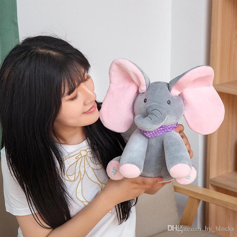 Искать игрушку слона плюшевые образовательные спрятать детей 30см говорящий пение кукла играют животное и игрушка для музыкальных детей Электрический запеченный KPUCN
