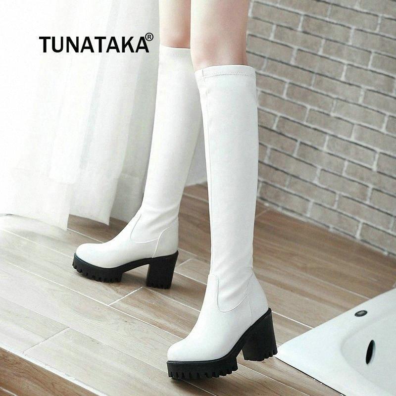 Joelho inverno Alto Botas Womens Grosso Salto Alto botas de plataforma Moda Shoes Black Woman longo branco 2019 Dropshipping ABCS #