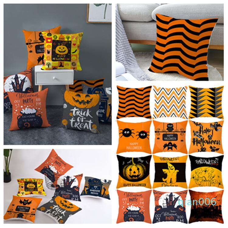 neuer 45 * 45cm Halloween pillowcase Orange geometrischer Kissenbezug customed Kürbis Druckkissenbezug Halloween-Dekorationen 40 Stil T2I5359