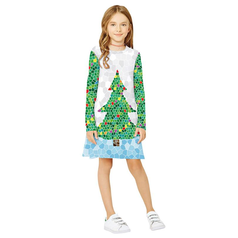 Платье европейских и американской мода Новой одежды Рождества Медведя цифровой печать платья для детей с длинным рукавом платье симпатичной девушкой способа