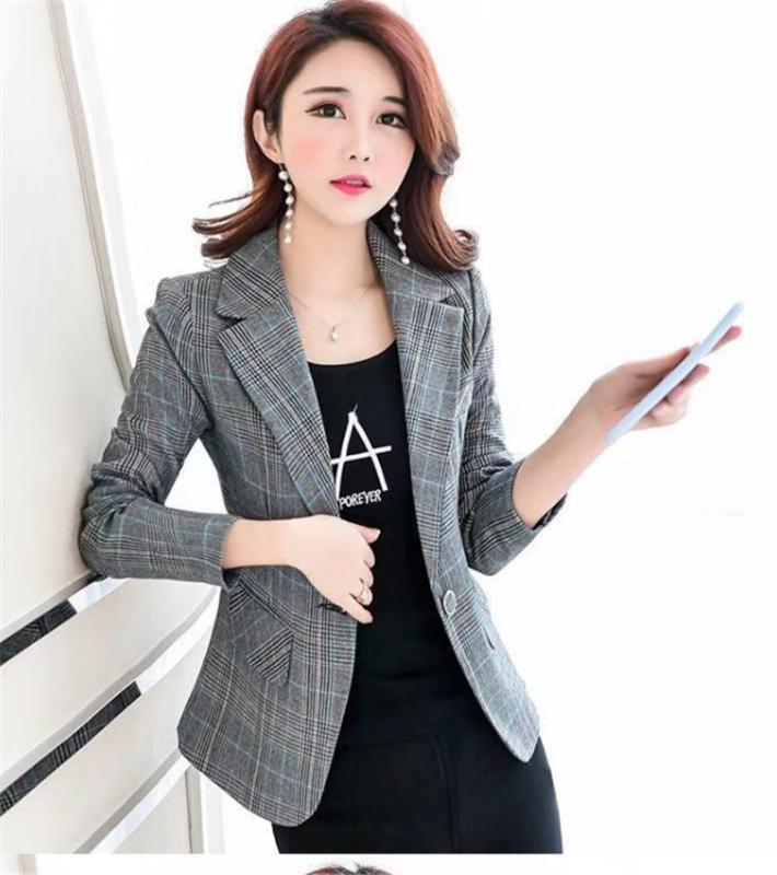 Rahat vahşi kısa küçük takım elbise ceket uzun kollu kadın 2020 yeni moda örgü profesyonel ince ceket büyük boy M-XXXL