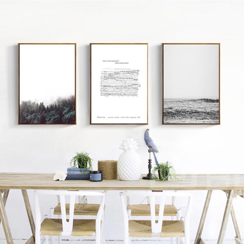 Tela Poster Print Foresta Paesaggio nordico pittura decorativa Chopin Manoscritto Nero e il paesaggio bianco per Living Room 2-25