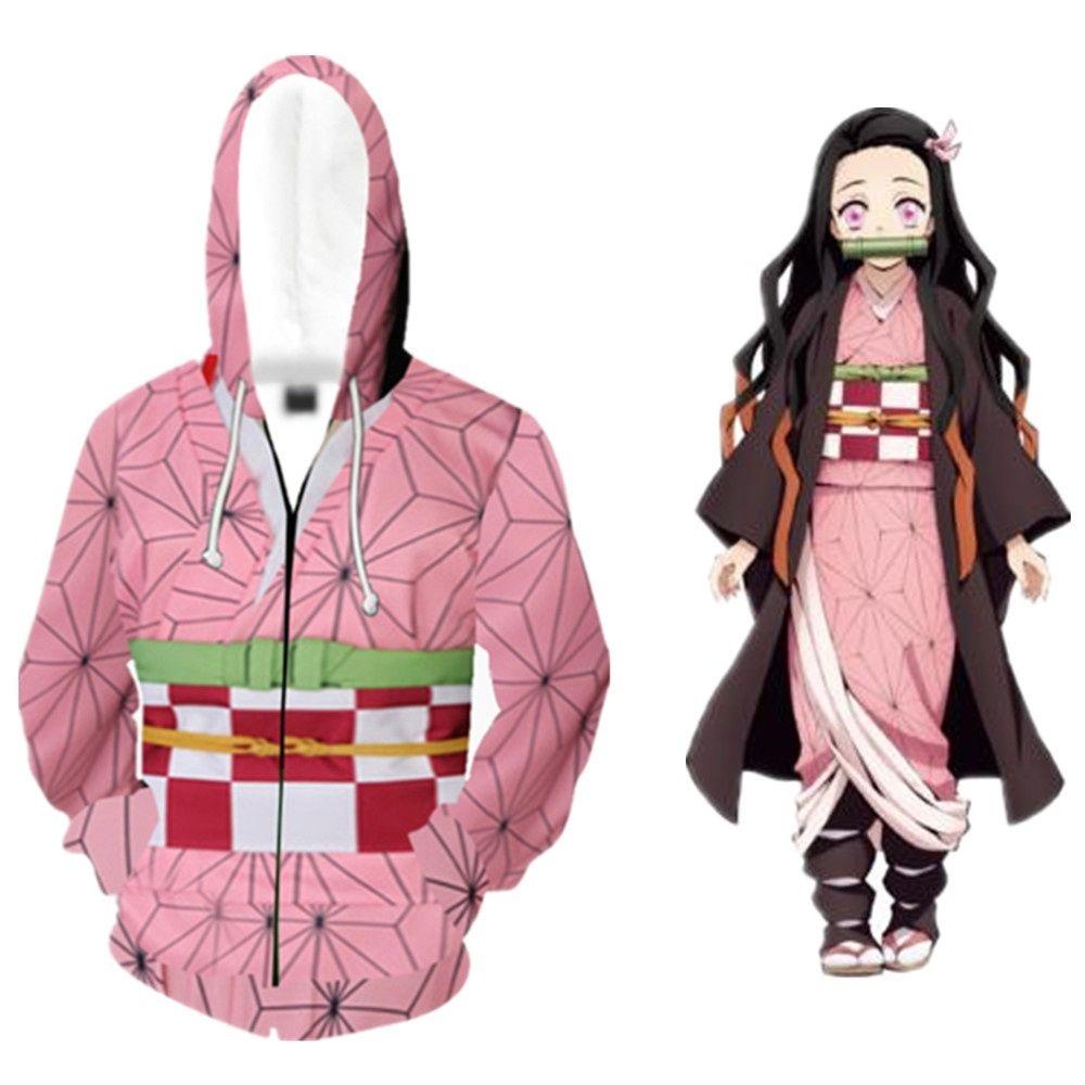 Japonya Anime Kadınlar Demon Slayer Kimetsu Yok Yaiba Cosplay Kostüm 3D Kamado Nezuko Coat Casual Ceket Fermuar Hoodie Üniforma