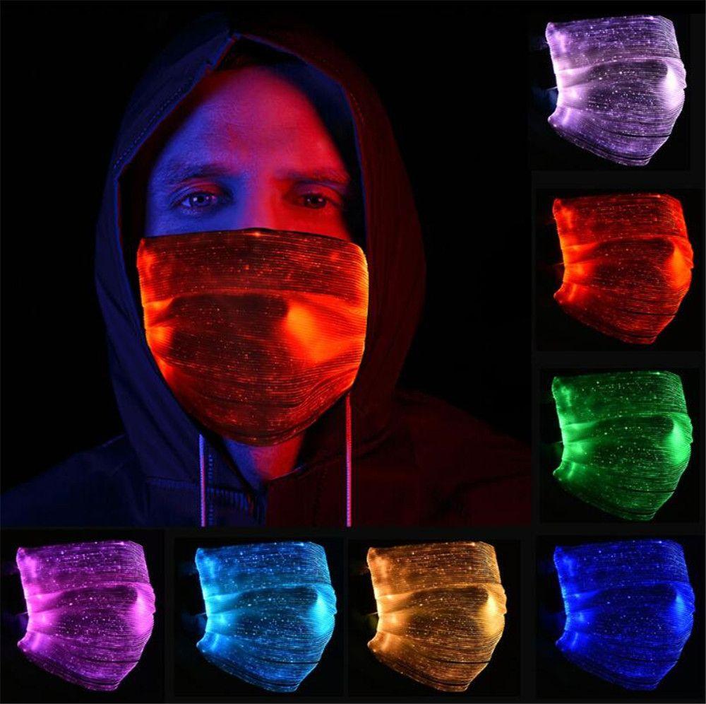 7 couleurs Masques LED lumineux Face fête de Noël Festival de mascarade Rave Masque mode Masque Glowing Avec filtre