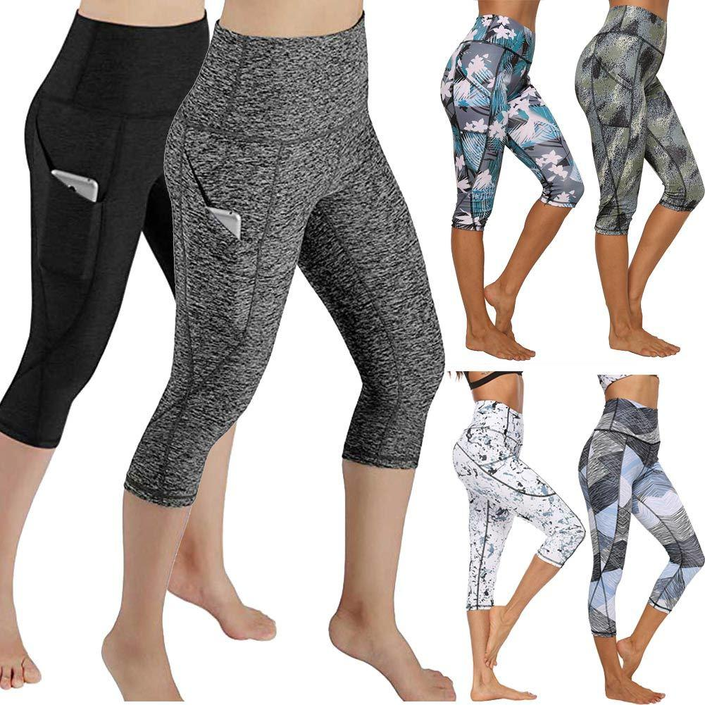 JGS1996 hohe Taillen-Yoga-Hosen mit Taschen Bauch-Steuer Yoga Capris für Damen 4-Wege-Stretch Capri Leggings mit Taschen Y200904