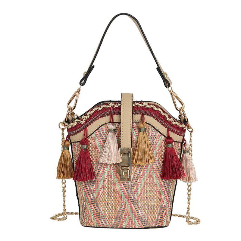 Sacos de praia Mulheres étnica principal borla messenger estilo # yl5 fita cadeia mão vintage bohemian sac um saco femme crossbody saco palha jhum