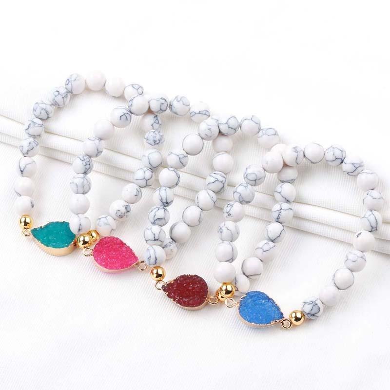 Браслет 8 мм Природный камень бисер для женщин 6 Цвет Смола камень Durzy Шарм Белый Черный шарик Bracelete Оптовая подарка ювелирных изделий