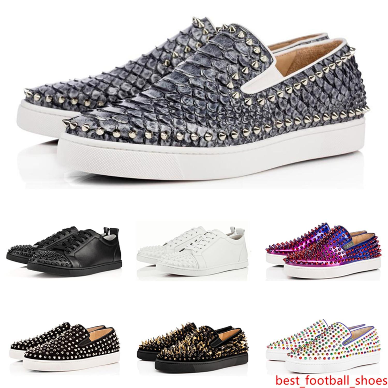 le scarpe di lusso stilista Red Bottoms Studded Spikes appartamenti per gli uomini donne nero bianco parte gli amanti delle scarpe da tennis casuali di trasporto libero