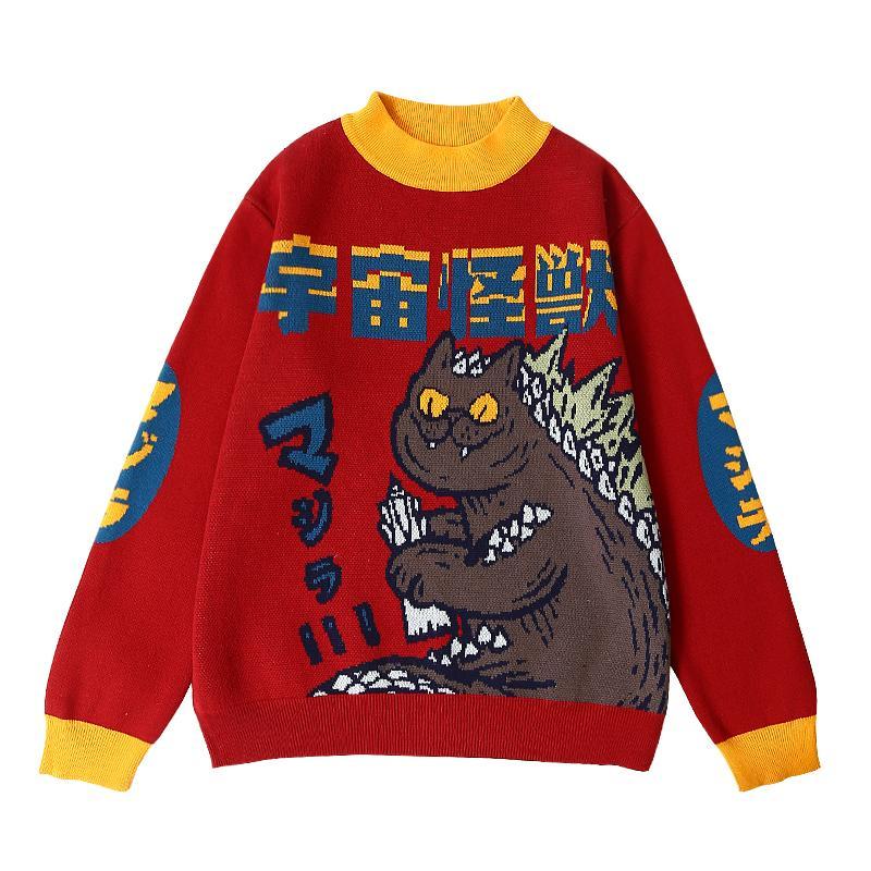 Harajuku Fashion lavorato a maglia del maglione delle donne del fumetto Mostro ricamo Student cappotto del maglione allentato Retro Hit colori Pullover Maglione 200918