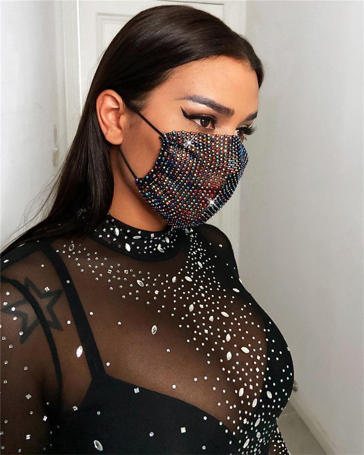 Moda Renkli Örgü Maskeleri Bling Elmas Parti Maskeleri Rhinestone Izgara Net Maske Yıkanabilir Kadınlar Için Yıkanabilir Seksi Hollow Maskesi EWE1444