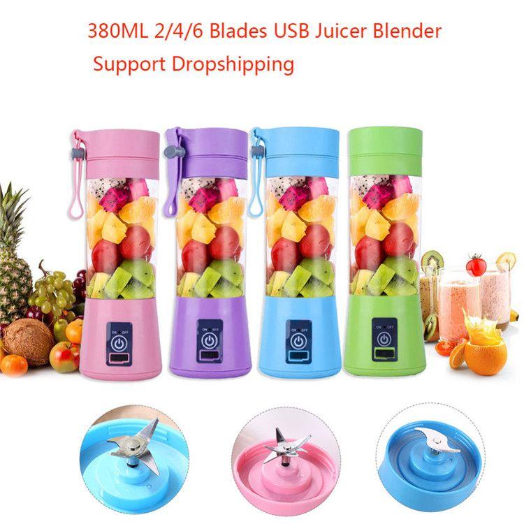 Портативный USB Электрический Fruit Соковыжималка Handheld Овощной сок Чайник Блендер аккумуляторная Мини сок Изготовление чашка с зарядный кабель