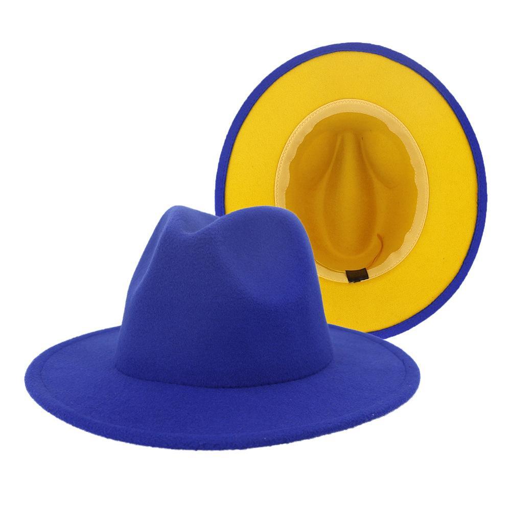 Blau Gelb Patchwork-Frauen Klassisches Wide Brim Floppy Panamahut Gürtelschnalle Dekor Wollfilz Jazz Fedora Hüte für Festival