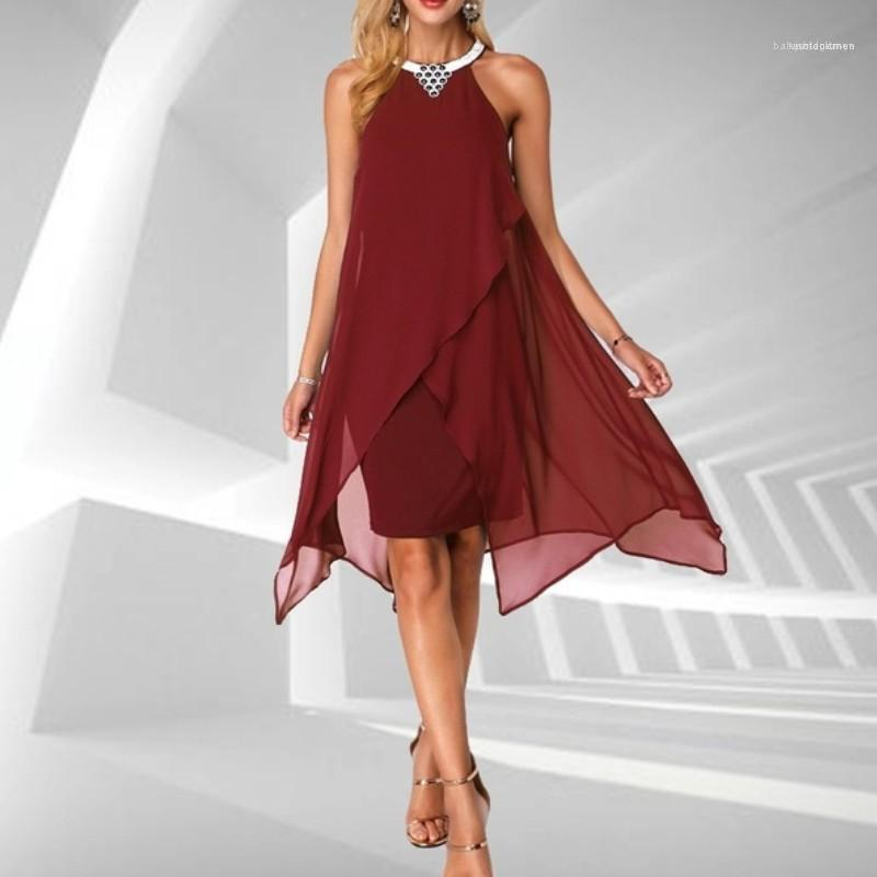 Vestidos Hembras de ropa para mujer diseñador ocasional sin mangas con paneles de moda los vestidos de longitud de la rodilla ropa halter de las mujeres de la cremallera