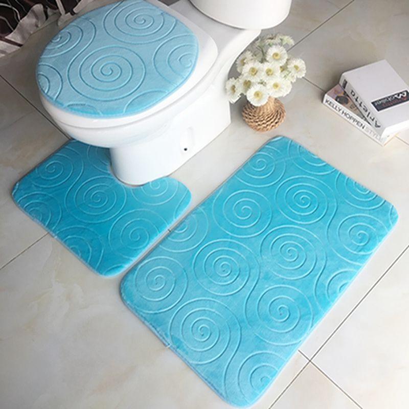 Baño Mat franela absorbente antideslizante alfombra de la estera de bañera WC decoración de la puerta del cuarto de baño Suministros 3pcs / set