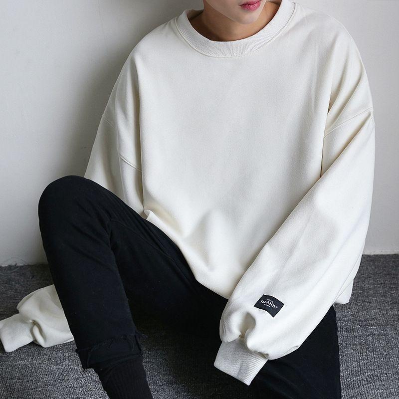 Zauvk Herbst Rundhals festen Stil Pullover Pullover Männer lose Pullover Farbe lange Hülse loversoversize Mantel Männer koreanischen Mantel Mode tv9