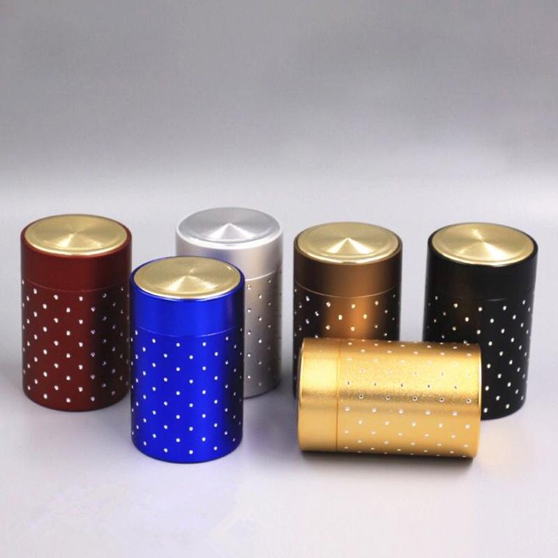 Mini lata de té Caja de almacenamiento redondos con forma de latas selladas tarro de café del carrito de té de hierro caja de hojalata de contenedores para regalo