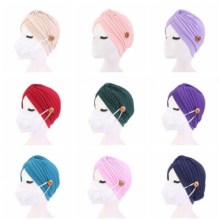 Women Turban Hats Mask Headband with Button Indian Caps Stopper Pure Turbante Headwear Adult Bandana Hijab Towel Hair Accessories HHD1474