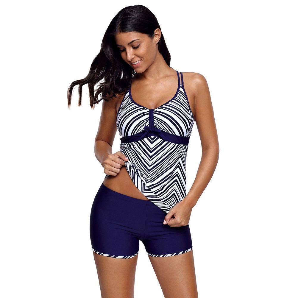 womens designerNavy striscia blu stampato conservatore costume da bagno spaccato a quattro angolo con sternale 410257