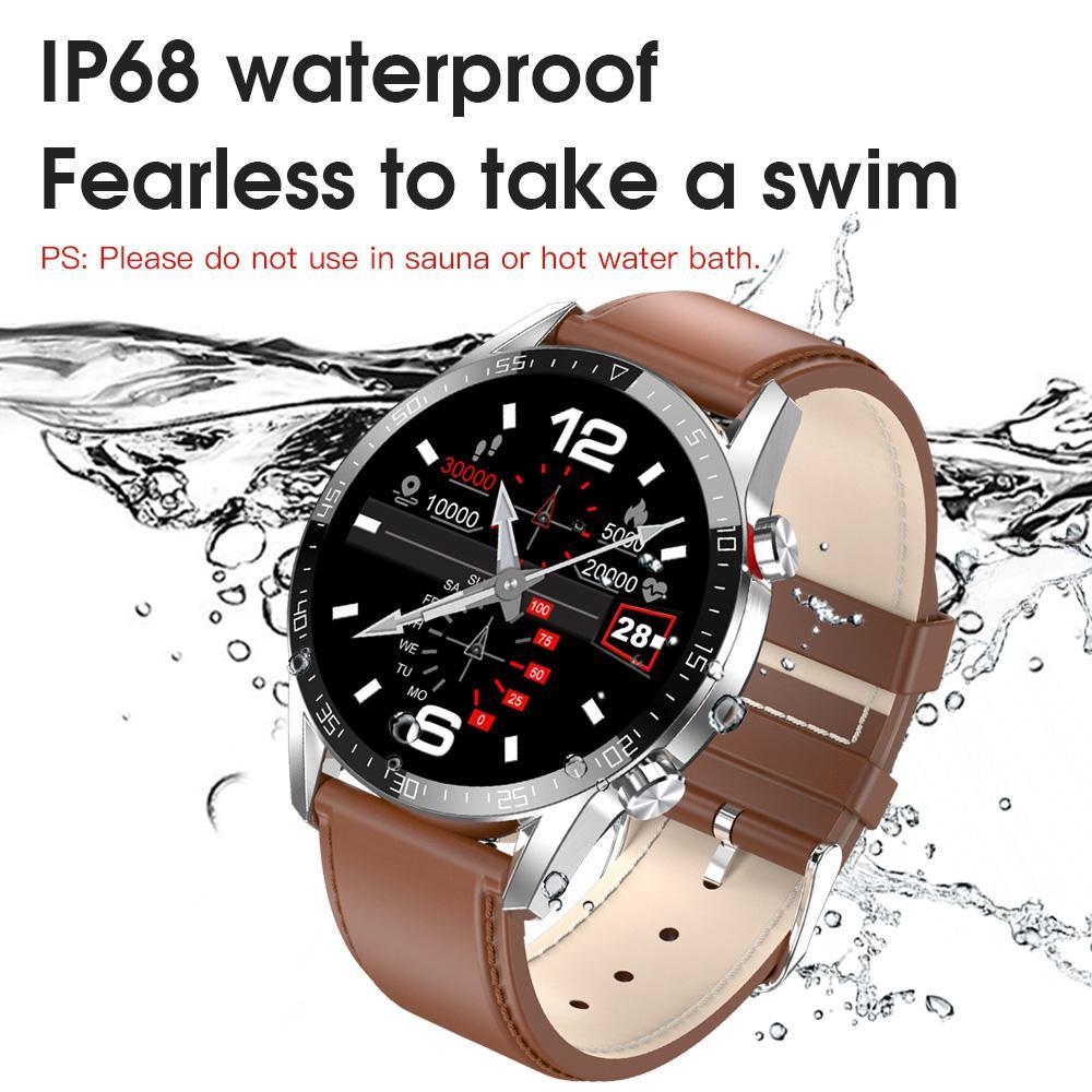 2020 L13 Bluetooth Çağrı Akıllı İzle Erkekler Çoklu Dials IP68 Su geçirmez Tam Dokunmatik Ekran Spor Smartwatch İçin Android IOS Telefon