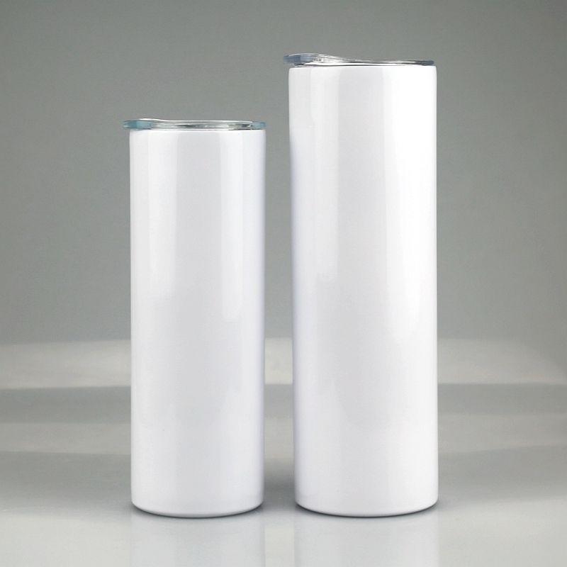 Sublimation verjüngte dünne Tumbler-Edelstahl-leerer weißer dünnender Tasse mit Deckel-Strohzylinderflasche freie schnelles Meer Versand FWB1959