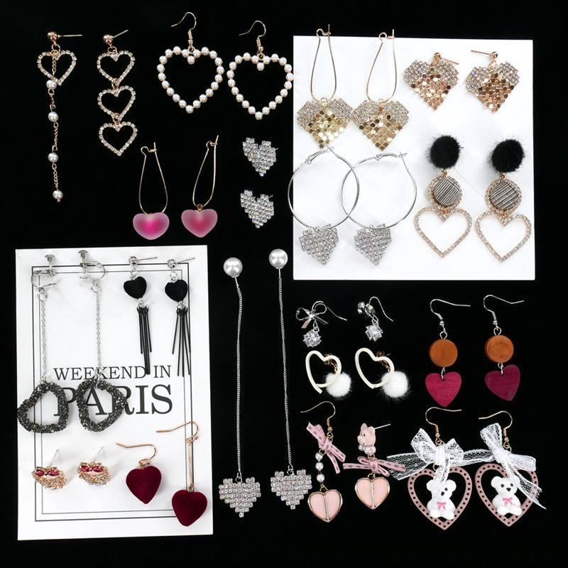 6L4Er Aşk koleksiyonu Japon ve Kore moda Yeni ins ve kız küpe basit Koreli soğuk tarzı küpe