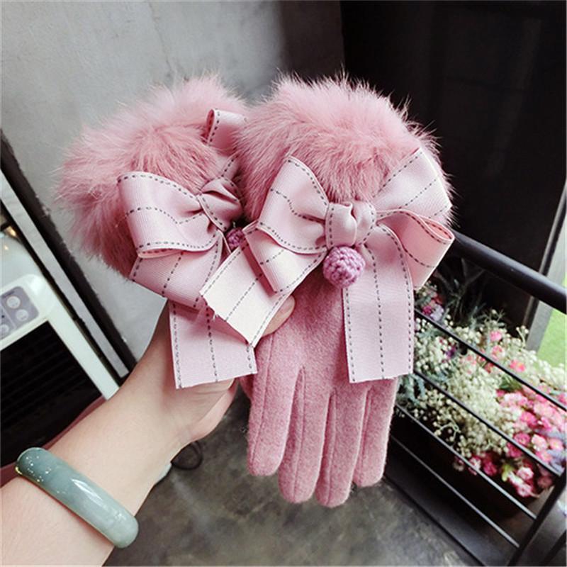 Cinco Dedos Luvas Mulheres Inverno de Lã Real Fur Elegante Bowknot Feminino Mittens Cashmere