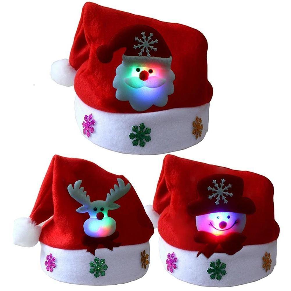 İyi Noeller Yetişkin Çocuk Led Işık Up Yeni Cap Noel Baba Kardan Adam Elk Şapka Noel Hediye Ddmf