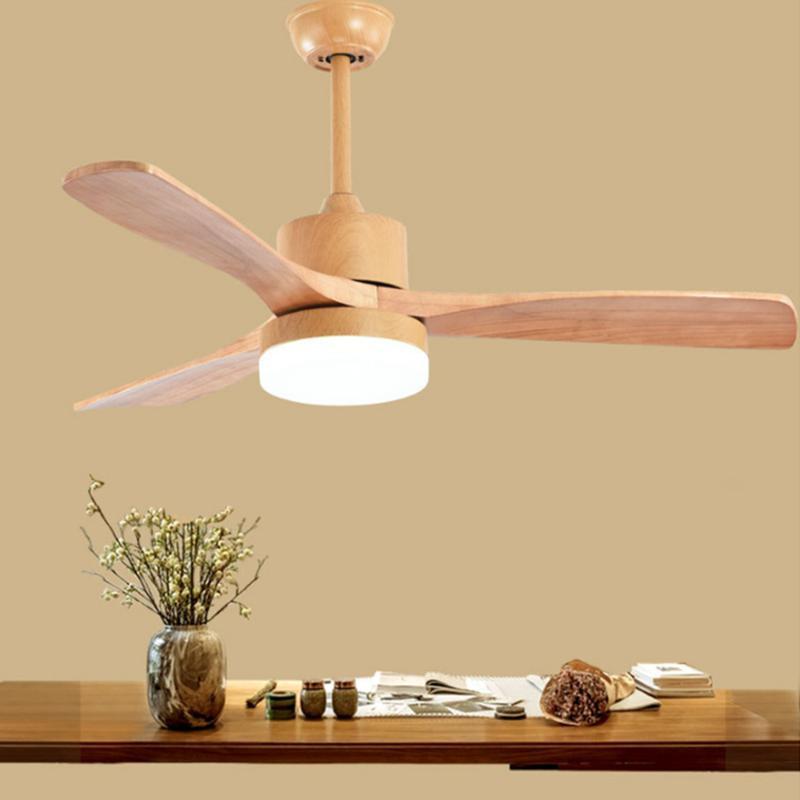 Ventilateurs électriques LED lampe en bois de plafond pour salon 220V ventilateur avec lumières 42 48 52 pouces lames de refroidissement à distance